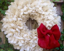 Holiday Wreath, Burlap Christmas Wreath, Christmas Rag Wreath, Burlap Rag Wreath, Burlap Knot Wreath, Rustic Christmas Wreath