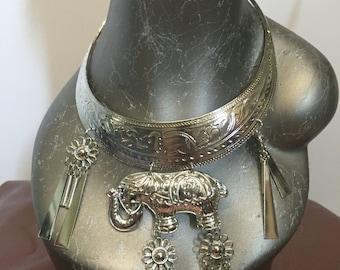 Silver Elephant Tribal Collar