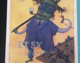 Vintage glossy print of The Fool by Keith Graves, unframed