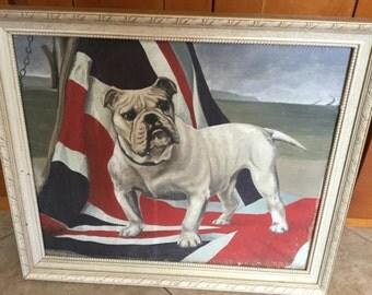 Antique Folk Art Bulldog and Union Jack Oil Painting on Canvas, English