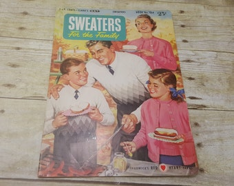 Sweaters for the Family, 1953, mid century magazine Coats and Clarks, Knitting magazine