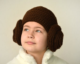 Princess Leia wig hat, womens star wars costume, crochet earflap hat, Photo prop adult funny hat, christmas in july, mommy and me outfits