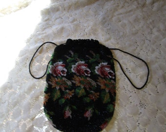 Vintage Floral Beaded Purse - Free Shipping
