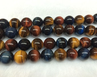 8mm Round Tigereye Beads Genuine Natural Multicolor Natural 15''L 38cm Loose Beads Semiprecious Gemstone Bead   Supply