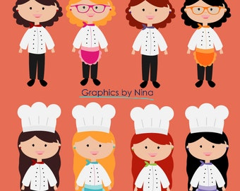 INSTANT DOWLOAD   Girl Chef Clipart Scrapbook for Personal and Commercial Use