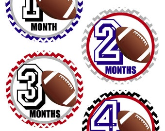 Football Baby Milestone Stickers, Baby Boy Month Stickers, Set of 12
