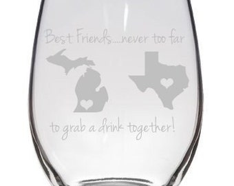 Best Friends Long Distance Friends State to State Share a Drink Wine Glass Pint Glass Pilsner Etc. Gift - Set of 2