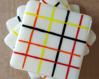Fire Check Fused Glass Coasters (x4)