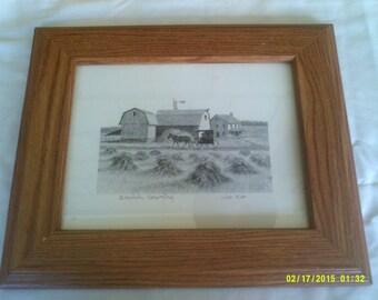 Vintage Framed Amish Print, Amish Farm Print, Farm Picture, Amish Farm Picture, Amish Picture, Amish Wall Art, Amish Country Print