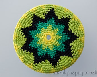 """Cotton Crochet Pocket Flying Disk Toy in Yellow/Green--8.5"""""""
