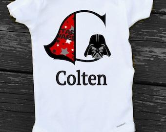 Baby Boy Star Wars Onesie Darth Vader Onesie Personalized Star Wars Monogram Gift Baby Boy Darth Vadar Shirt Star Wars Infant Onesie