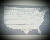 LARGE 36x21.25 in. Wood USA Map Weathered Gray American Handmade Silhouette Plaque Distressed Wall Hanging USA Hanging Wood Map