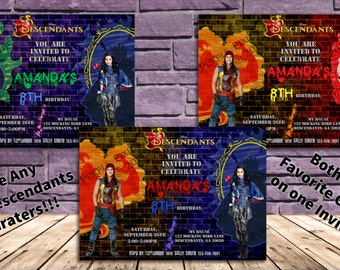 Disney Descendants Birthday Party Invitation - Choose 2 Characters!! Can Have Two Names and Ages!