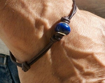 Lapis Lazuli and Sterling Silver Knotted Leather Bracelet. Adjustable  Wooden OM button.