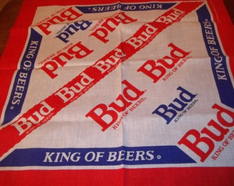 Budweiser Beer Bandana - Bud Bandana - Budweiser Handkerchief -Budweiser Hanky- Budweiser Bandana