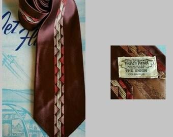1950s burgundy vintage tie