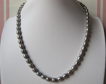 8-9mm Silver Grey Rice Freshwater Pearl 925 Sterling Silver Necklace 53
