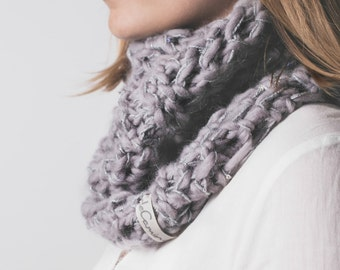 Double shine wool cowl scarf