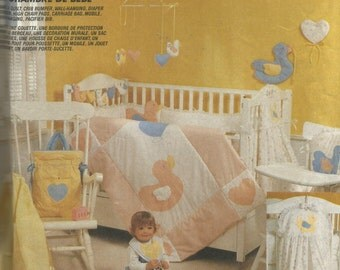 2907 McCalls Sewing Pattern Nursery Quilt Crib Bumpers Diaper Stacker Mobile Bib Vintage 1980s
