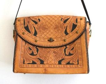 Large Hand Tooled Leather Handbag/ Studded Mexican Purse/ 70s Boho Shoulder Bag