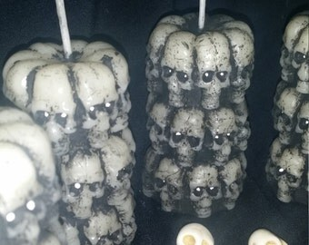 2.2 ounce Handmade Skull Tower Candle Set of Three, with your choice of Scent and Paint, Day Of The Dead, Mexico, Holiday, Halloween, Custom