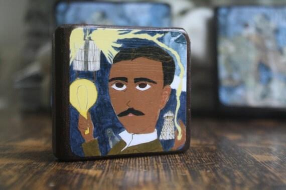 Nikola Tesla 2.5 X 2.5 inch Icon Print on Wood