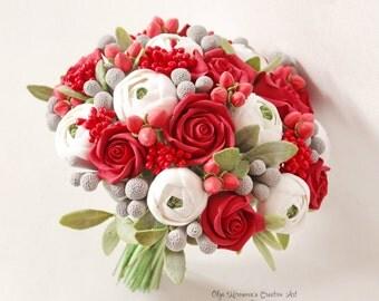 Alternative wedding bouquet Keepsake bouquet Red roses Bridal bouquet clay flowers berries bouquet Toss bouquet Red White bridal bouquet