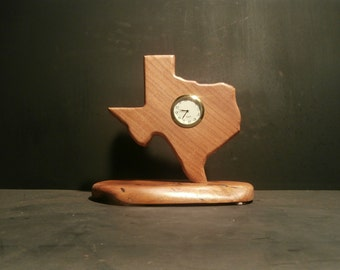 Watching Time in Texas is a handcrafted mesquite clock