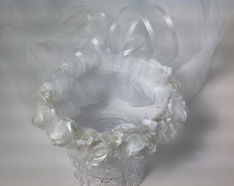 Wedding Communion Veil Halo Crown Organza large silk flowers with perals