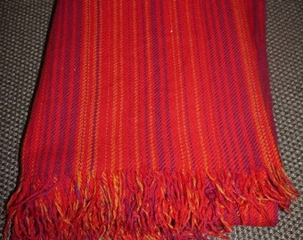Swedish Design - Wool Blanket / Plaid - Fringes - 60s - Viola Gråsten - Tidstrand - Snark - Red -