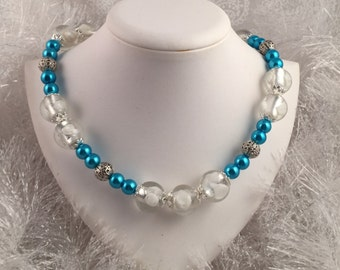 Beautiful glass beaded necklace; Teal Blue and Silver