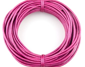 Pink Metallic Round Leather Cord 1 mm 10 meters (11 yards)