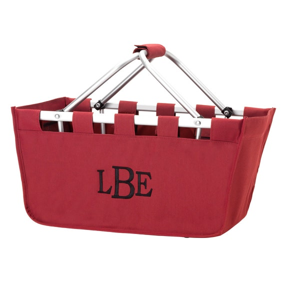 Garnet  Market tote picnic basket tote monogram basket tote personalized tote bag tailgate tote gameday bag college dorm shower caddy basket