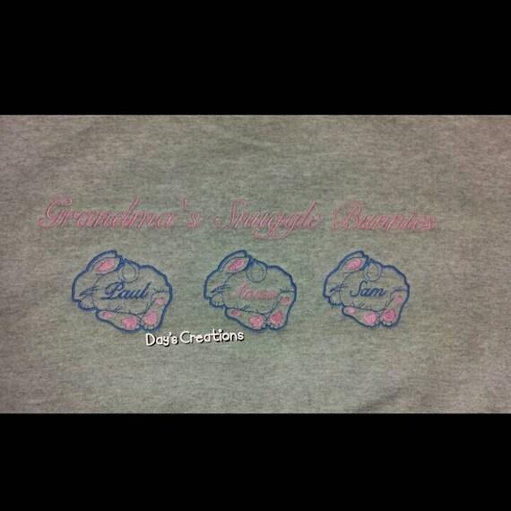 Grandparent sweatshirt - crew neck custom snuggle bunnie sweatshirt - embroidered grandma sweatshirt - grandparent gift