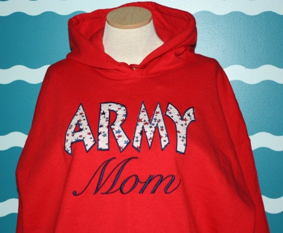 Embroidered Custom Hooded Army Mom sweatshirt - Personalized custom hooded army sweatshirt - Mothers day gift shirt