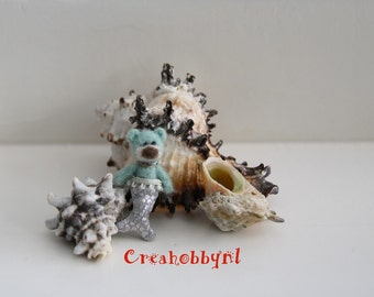 Miniature bear. Needle felted mermaid bear. Dollhouse miniature.