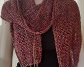 Hand-woven light-weight gray red and gold summer scarf, mesh scarf, loose woven drapey scarf, lacy lightweight summer neck wrap