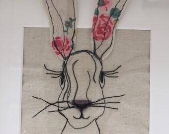 Framed Hare textile wall art