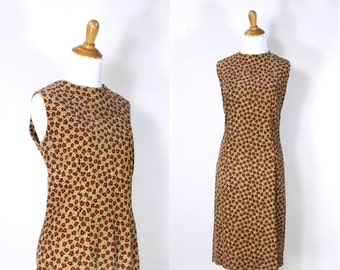 ON SALE Vintage 1960s Dress | 60s Corduroy Floral Print Shift Dress | Brown and Red | large L