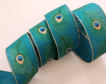 """2.5"""" Peacock Feathers Wired Ribbon Fabric Peacock Wedding Bow Peacock Christmas Ribbon Teal Peacock Wedding Wired Ribbon Wreaths Make Bows"""