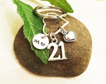 "BIRTHDAY ""21"" KEYCHAIN on heart with initial charm - Please see all photos to order - One flat rate shipping in my shop :)"