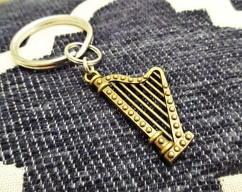 "BRONZE HARP KEYCHAIN - See ""add on upgrade section to add an initial charm - Read ""item details"" below and see all photos"
