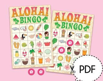Aloha Luau Hawaii Bingo Game Kit–Printable PDF Download
