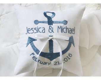 Nautical Embroidered Wedding ring pillow , anchor wedding pillow ,personalized ring pillow, ring bearer pillow ,  Custom pillow(R122)