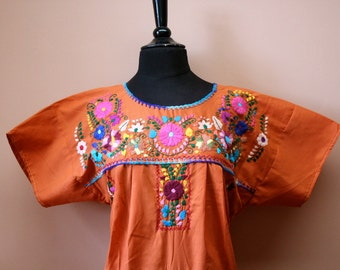 Frida Style Colorful Mexican Dress with Embroidered Flowers- Orange- Summer-BOHO-Hippie