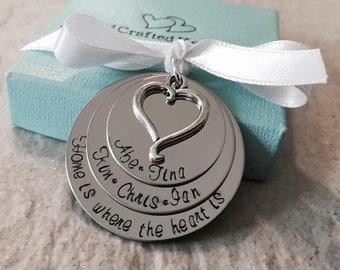Home is where the heart is personalized family christmas ornament hand stamped personalized christmas ornament first christmas heart charm