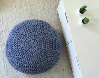 Blue Floor Cushion-Round Floor Pillow-Meditation Cushion-Gifts for Her-Crochet Pouf-Living Room Furniture Pouf-Eco friendly Home Decor