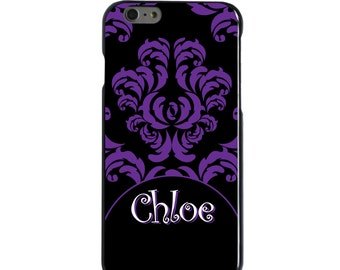 Hard Snap-On Case for Apple 5 5S SE 6 6S 7 Plus - CUSTOM Monogram - Any Colors - Purple Black White Damask