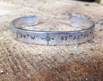 Hand Stamped coordinates Cuff, your coordinates, compass rose, important place, engagement, wedding, GPS,couples,longitude, latitude
