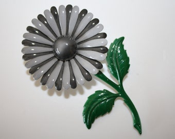 Vintage Grey striped flower pin Large